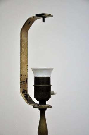 Antique Candlestick Style Brass Table Lamp