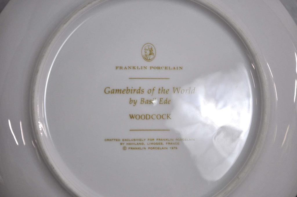 Franklin Limoges Porcelain Wall Plate Gamebirds Motif Limited Edition 1979 France Woodcock