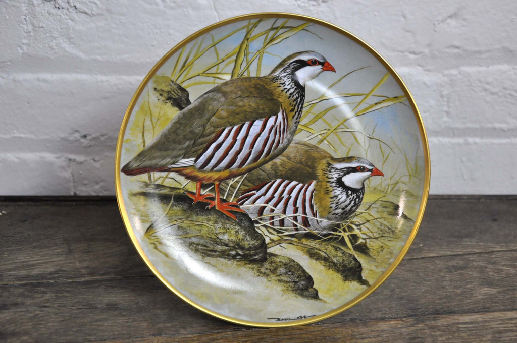 Franklin Limoges Porcelain Wall Plate Gamebirds Motif Limited Edition 1979 France Red Legged Partridge