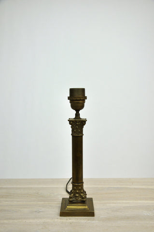 Image of Antique French Victorian Brass Corinthian Pillar Table Lamp