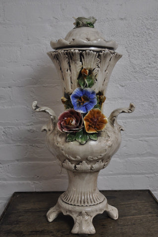 Vintage Floral Porcelain Vase-Urn on Legs with Two Handles