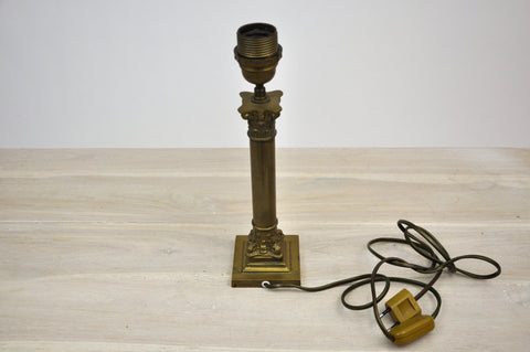 Antique French Victorian Brass Corinthian Pillar Table Lamp