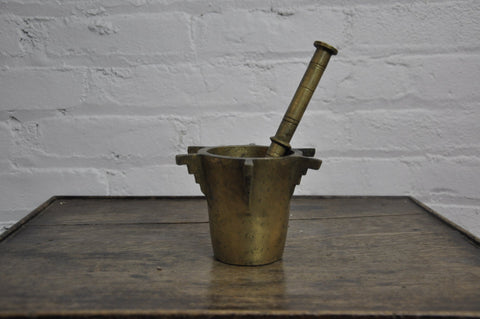 Antique Ottoman Turkish Heavy Bronze Mortar and Pestle