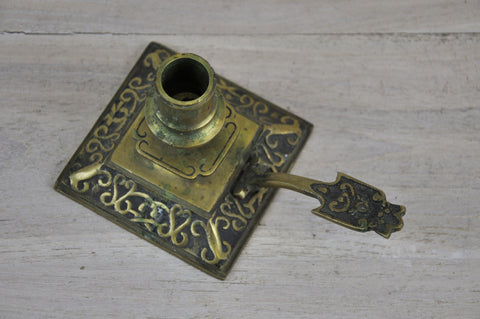Beautiful Engraved Brass Candle Holder with Dragon Head Design on Handle