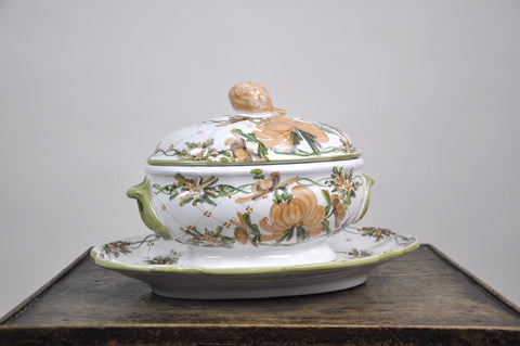 Image of Hand-Painted Amapola Floral Pattern Soup Tureen and Stand Auteur Signed