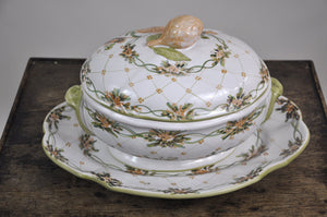 Vintage 1940's French Hand-Painted Floral Pattern Ceramic Soup Tureen and Stand Auteur Signed