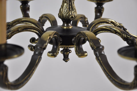 Antique Vintage French Imperial Bronze 8 Branch Light Chandelier