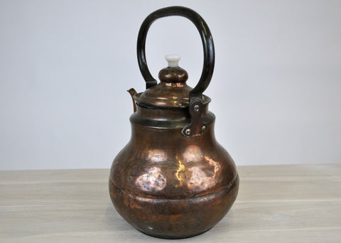 Image of Antique Vintage Handmade Hand Hammered Copper Teapot Tea Kettle