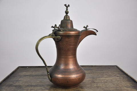 Image of Antique Early 1900's Arabic Dallah Copper Brass Pitcher