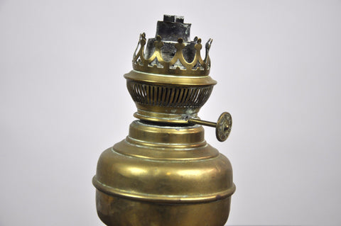 Image of Antique French Bronze Oil Lamp early 1920's