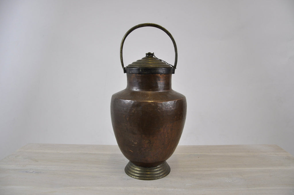 Antique Copper Water Jug with Bronze elements