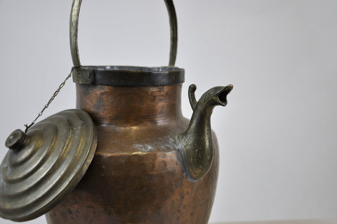 Image of Antique Copper Water Jug with Bronze elements