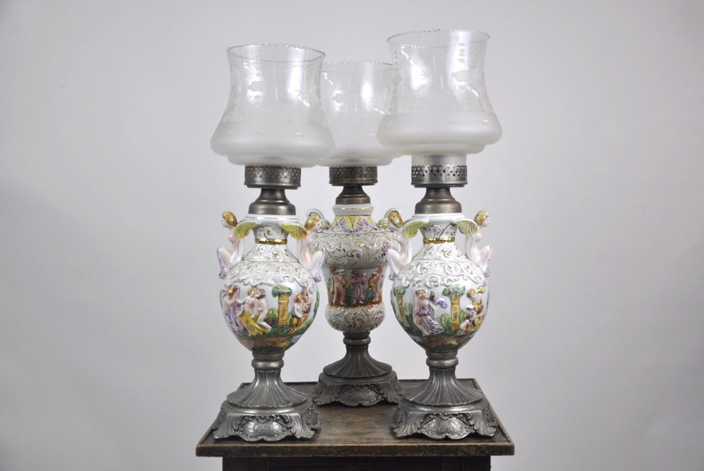 Three Unique Hand Painted Antique 1920's Capodimonte Porcelain Table Lamps Neoclassical Greek Dancing Scenes and Harp