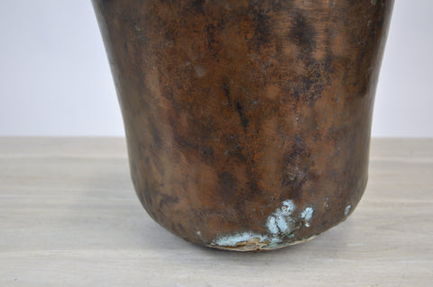 Image of Antique Copper Kettle Bowl Planter