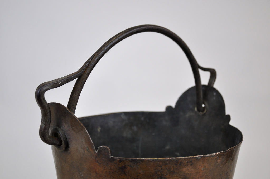 Antique Copper Kettle Bowl Planter