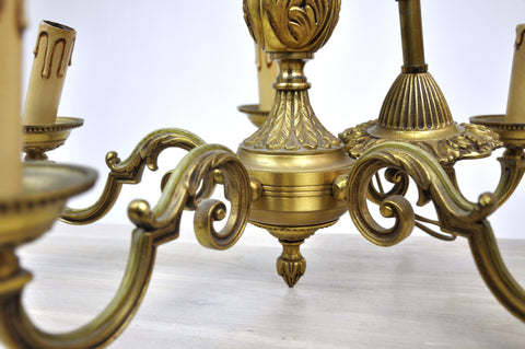 heavy brass chandelier