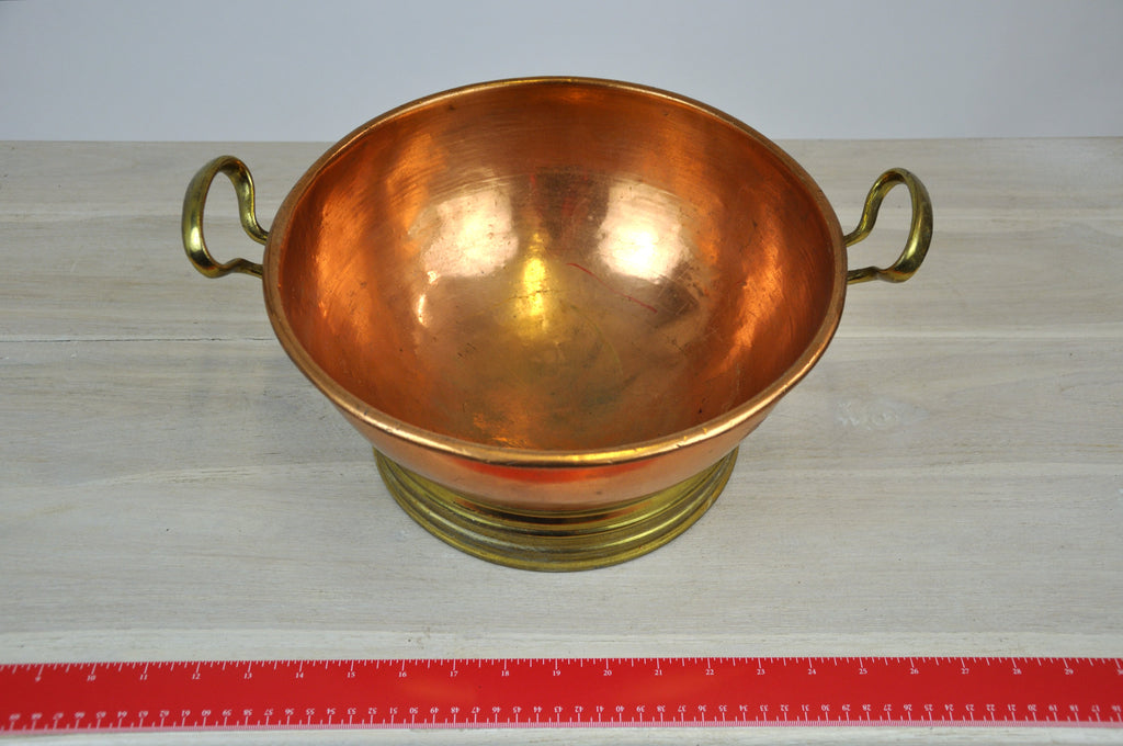 Beautiful Antique Copper Bowl with Handles