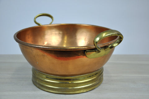 Image of Beautiful Antique Copper Bowl with Handles