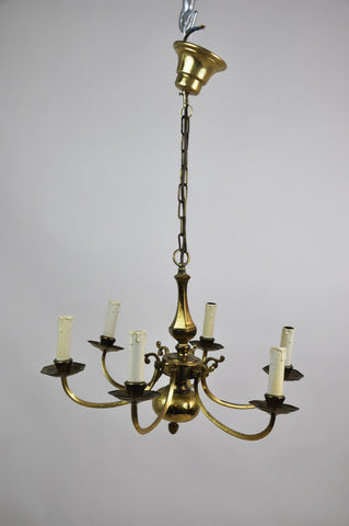 Image of Large Antique French Bronze Six-Light Chandelier