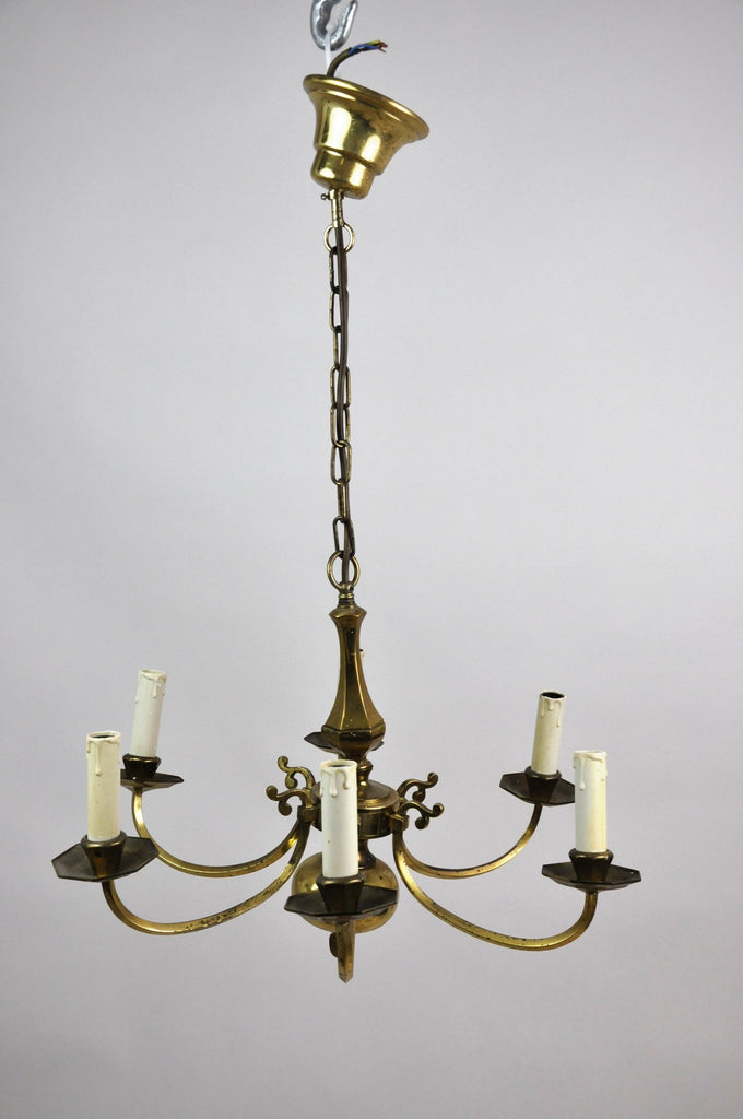 Large Antique French Bronze Six-Light Chandelier