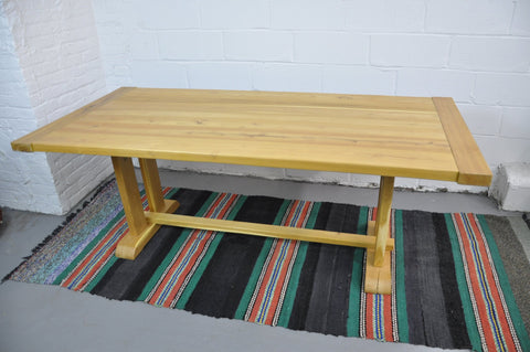 Rustic Reclaimed Acacia Wood Trestle Farmhouse Dining Table