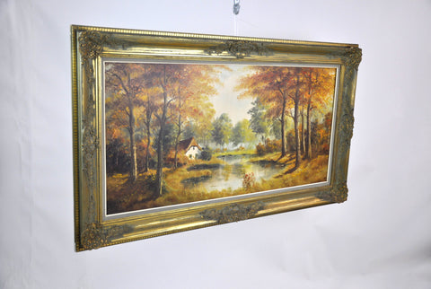 Image of Dutch Countryside Fall Landscape, Oil on Canvas Painting, S. Blok,