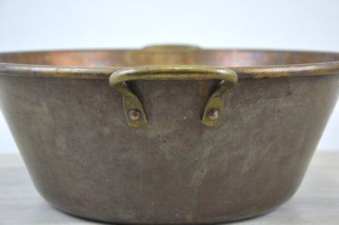 Vintage Rolled Rim Copper Bowl Decorative Planter