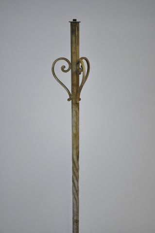 Antique Vintage Wrought Iron Foliate Floor Lamp