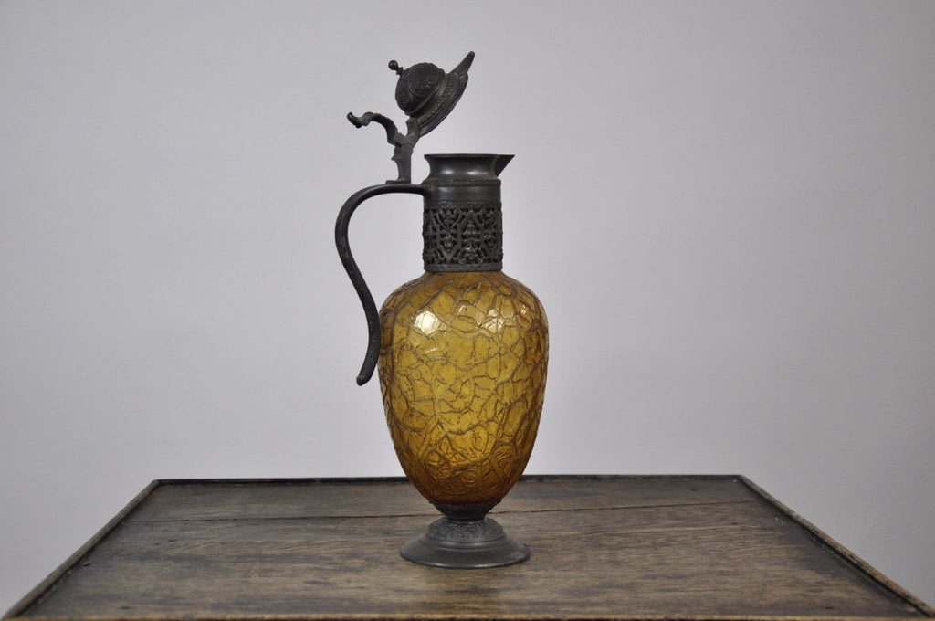 Vintage 1920's Pewter Lidded Hand Blown Amber Glass Moroccan Tea Pitcher