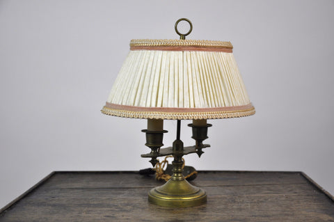 Vintage French Two-Arm Candlestick Brass Bouillotte Desk Library Table Lamp w Oval Shade