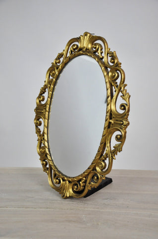 Image of Antique Ornate Oval French Bronze Gilt Rococo Mirror
