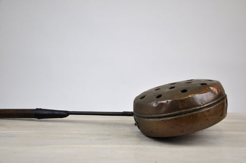 Image of Antique French Copper Bed Warmer Long Wood Handle Warming Pan