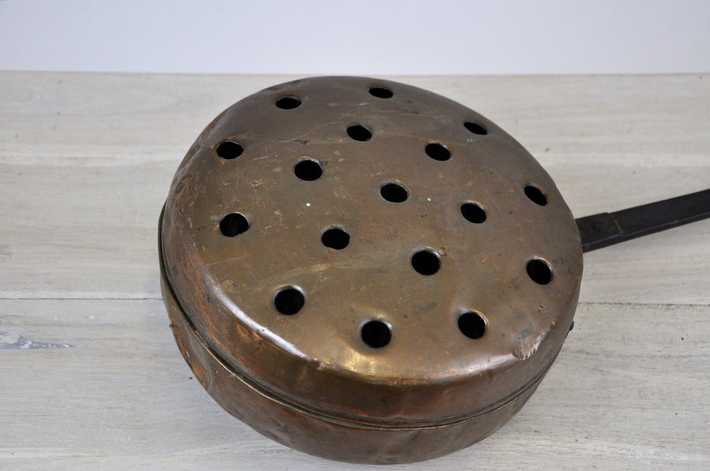 Antique French Copper Bed Warmer Long Wood Handle Warming Pan