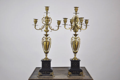 Pair of French Aesthetic Movement Napoleon Style Bronze & Marble Candelabras
