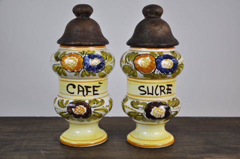 Vintage French Coffee Sugar Containers