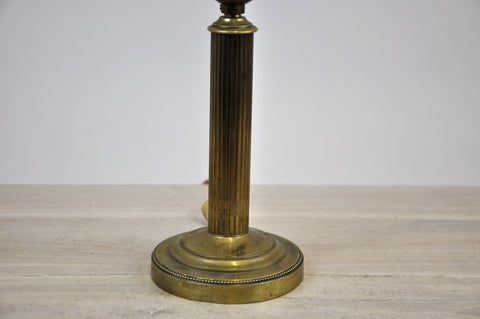Antique French Style Brass Table Lamp Round Base