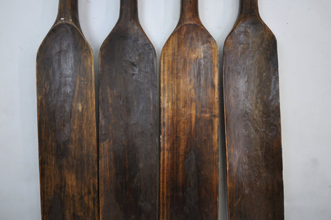 Image of Set 4 Handmade Vintage Wooden Oars