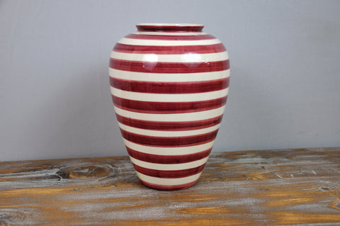 Image of Mid Century White and Red Ceramic Vase