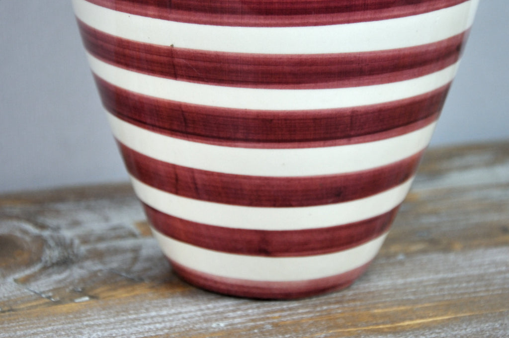 Mid Century White and Red Ceramic Vase