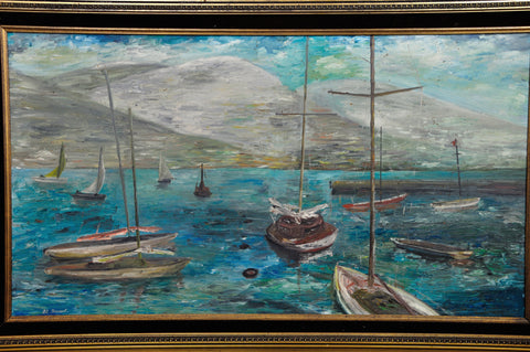 Image of Vintage Oil Painting Impression Landscape Yachts Awesome Baroque Frame