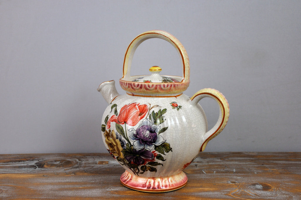 Vintage French Porcelain Hand-Painted Tea Pot with Floral Motifs