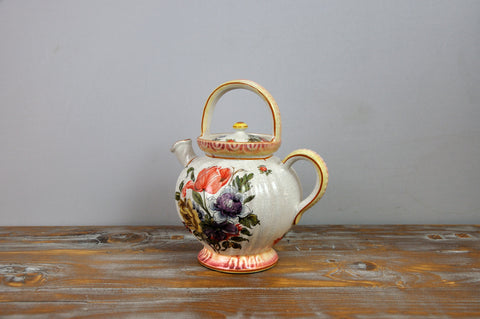 Image of Vintage French Porcelain Hand-Painted Tea Pot with Floral Motifs