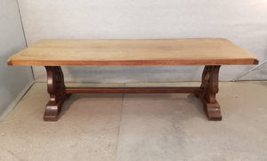 Large Massive Antique French Oak Trestle Dining Table
