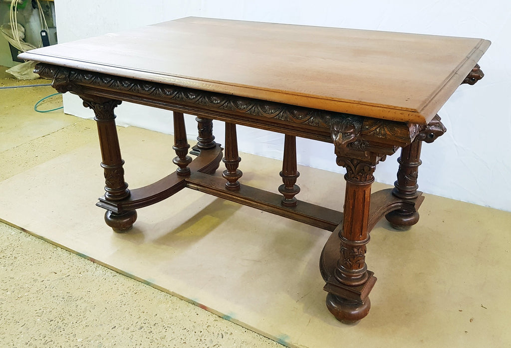 Strange Jacobean Style 1930S French Henry Iv Carved Solid Oak X Stretcher Dining Table Ibusinesslaw Wood Chair Design Ideas Ibusinesslaworg