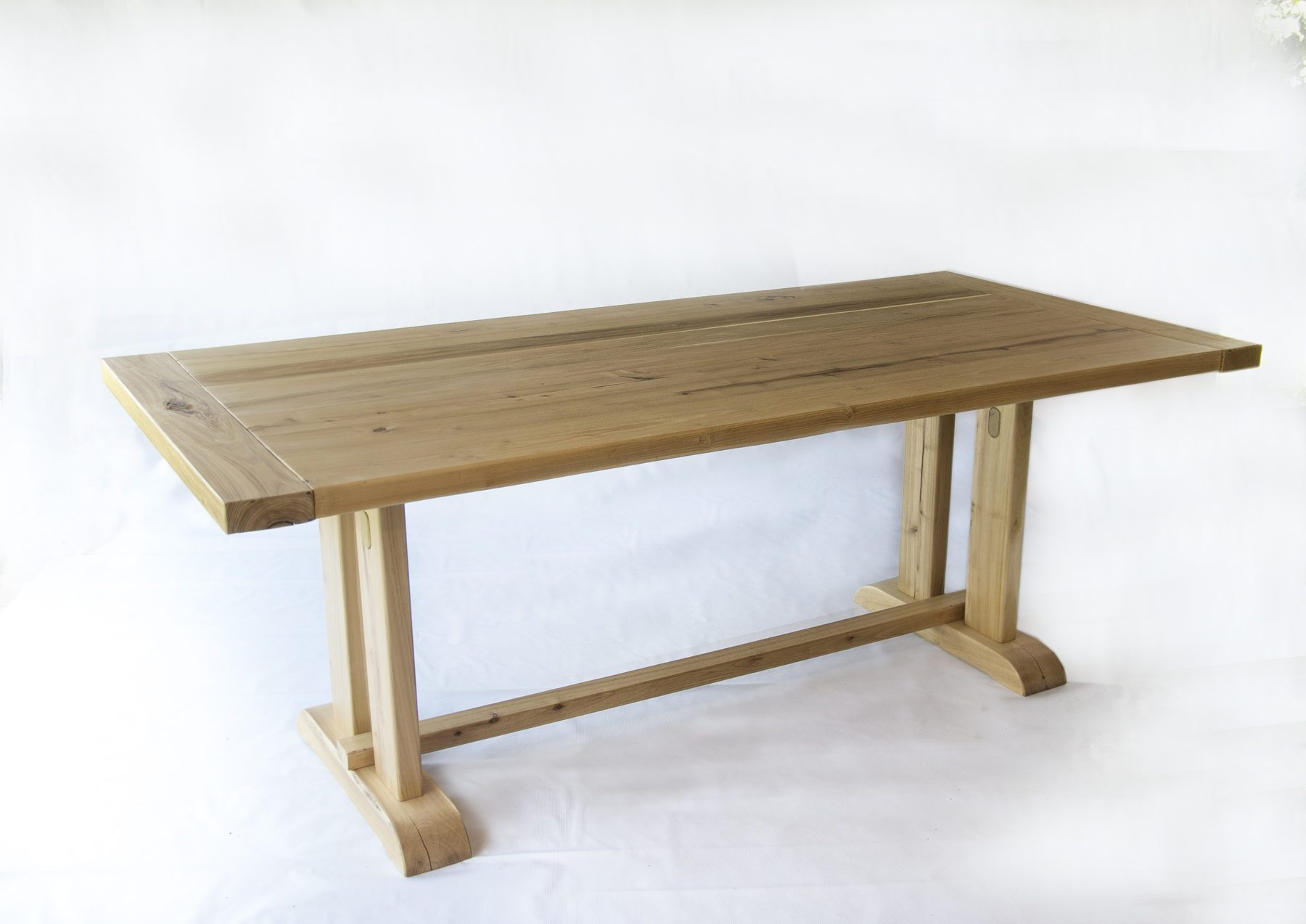 Handcrafted Solid Acacia Reclaimed Wood Handmade Trestle Dining Table