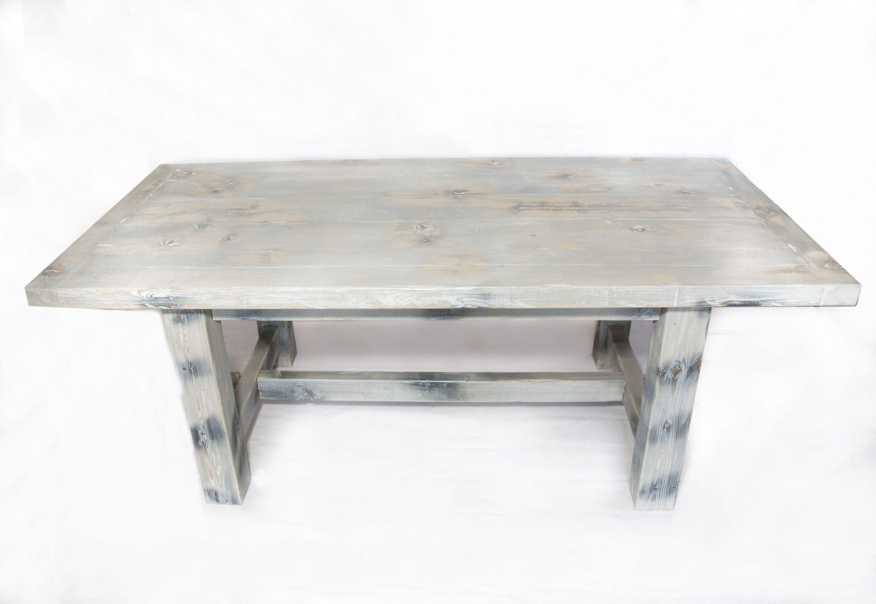 Handmade Farmhouse Dining Table Distressed Wood Weathered White Gray