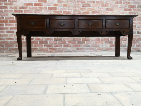 Early 20th C. French Country Oak Entry Side Table  or Foyer Table w 4 Drawers