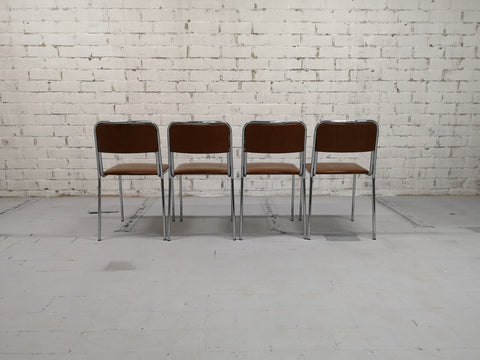 Set of 4 Chrome Steel Frame Brown Faux Leather Mid-Century Retro Kitchen Chairs