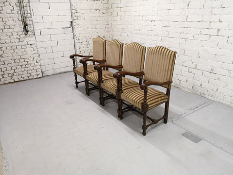 Set of 4 Massive Striped Hall Room Vintage Throne Chairs Original Tapestry