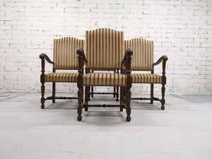 Set of 4 Massive Striped Hall Room Vintage Provincial Style Throne Chairs Original Tapestry